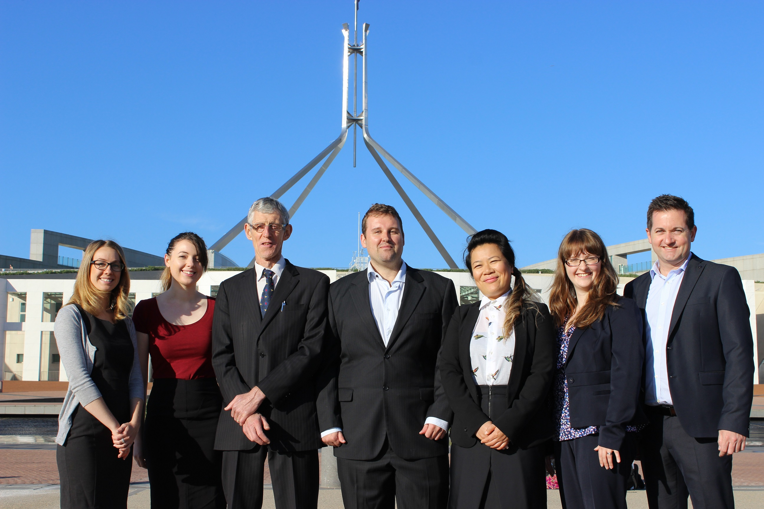 Lindsey Little and fellow advocates at Parliament House, Canberra
