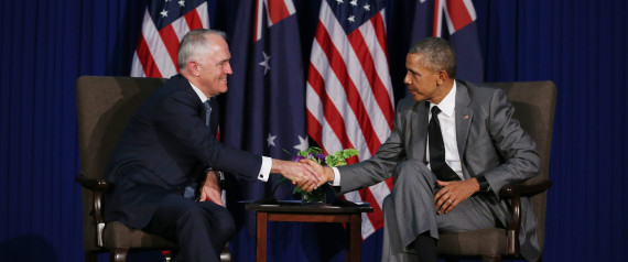 MANILA, PHILIPPINES - NOVEMBER 17: (EUROPE AND AUSTRALASIA OUT) (L-R) Australian Prime Minister Malcolm Turnbull and United States President Barack Obama shake hands at the 2015 Asia-Pacific Economic Cooperation (APEC) summit in Manila, Philippines. (Photo by Gary Ramage/Newspix/Getty Images)