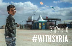 Syrian boy Omar flying a kite