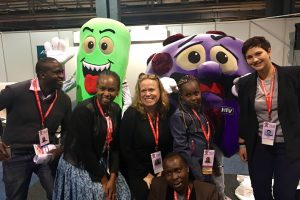 Leila (far right) with colleagues from ACTION Global Health Advocacy Partnership and KANCO (Kenya AIDS NGO Consortium) with the Deadly Duo of TB and HIV at AIDS2016 in Durban.